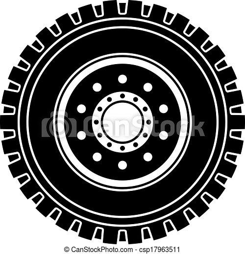 roue, symbole, vecteur, camion, noir, blanc - csp17963511