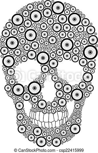 roue, vélo, crâne - csp22415999