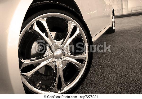 roue, voiture, haut, taches, fin - csp7275921