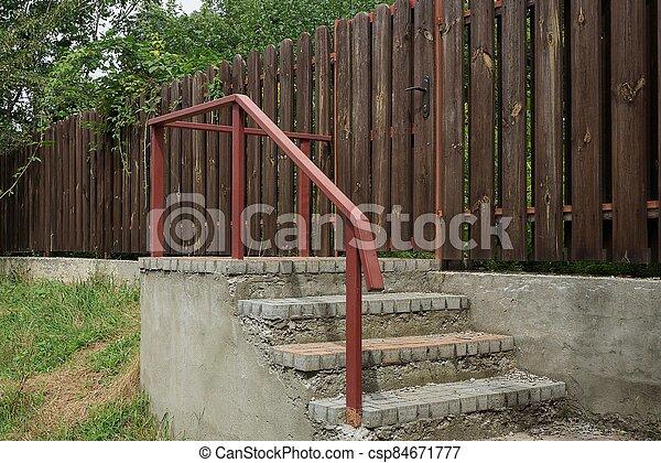 rouges, étapes, rampes, béton, ir, fer, gris - csp84671777