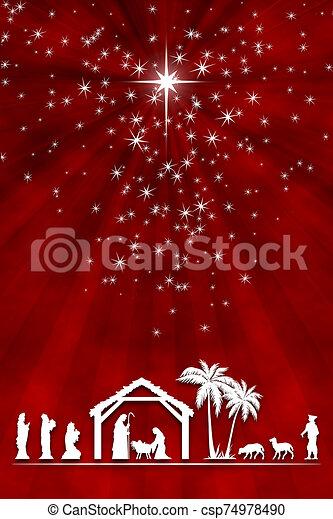 rouges, adoration, carte, salutation, blanc, nativité, noël, shepherd., magi, arrière-plan., scène - csp74978490