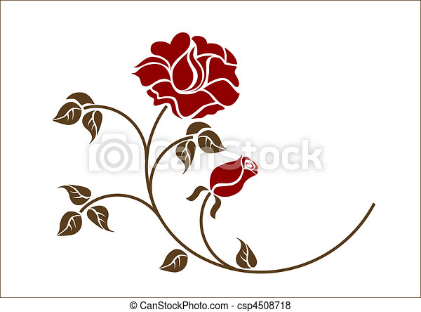 rouges, backgroud., roses, blanc - csp4508718