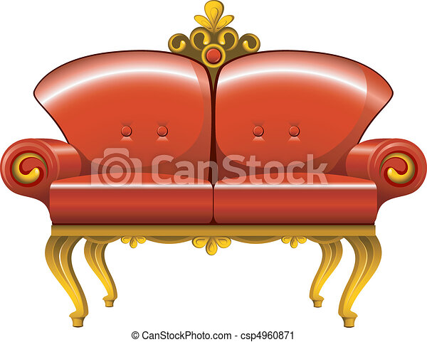 rouges, sofa, vendange - csp4960871