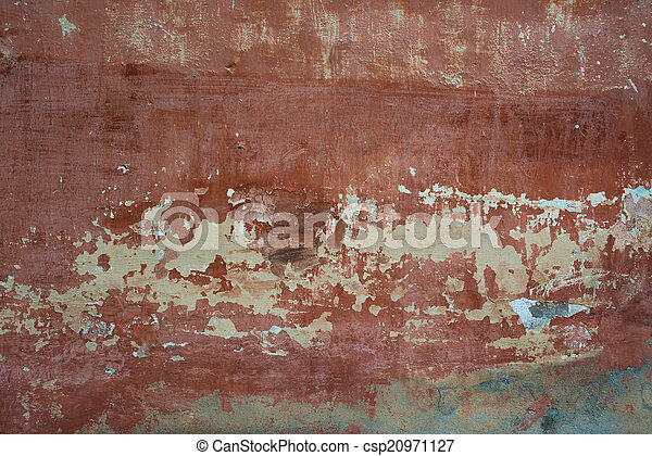 Rough textured background red old cement wall with stains dry