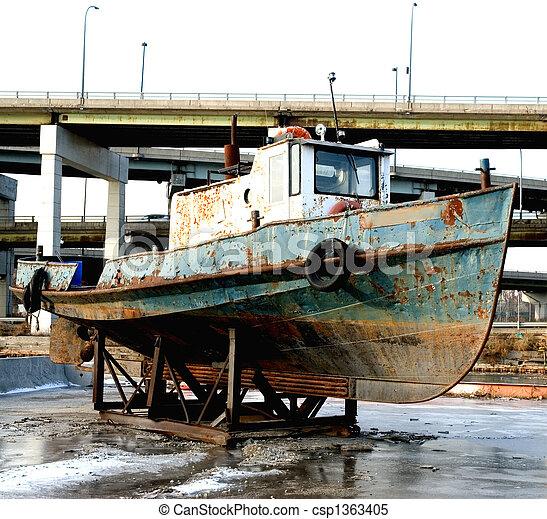 rouillé, vieux, bateau, remorqueur - csp1363405