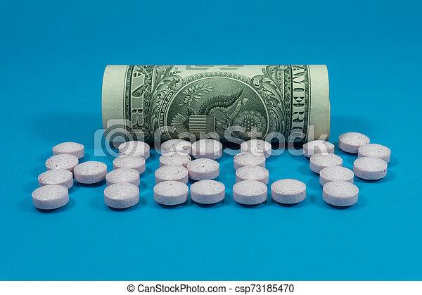 roulé, tablettes, américain, dispersé, billet banque - csp73185470