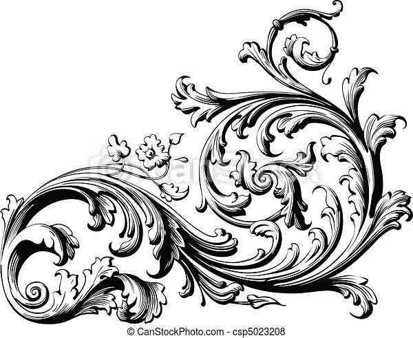 rouleau, floral - csp5023208