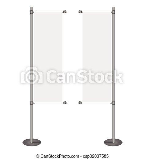 rouleau, vide, bannière, haut, exposer - csp32037585