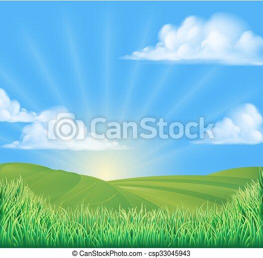 rouler, champ, collines, fond, soleil - csp33045943