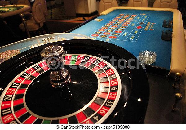 Roulette wheel in casino - csp45133080