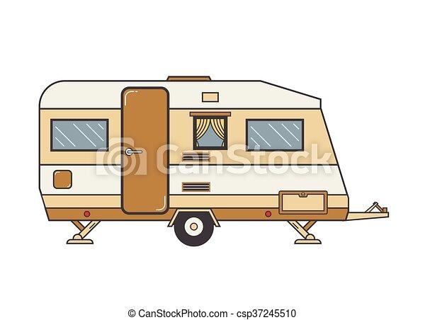 roulotte, roulotte, famiglia campeggia - csp37245510