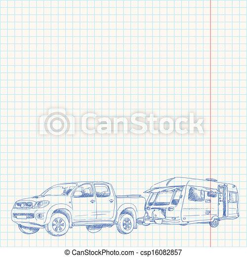 roulotte, schizzo, automobile - csp16082857
