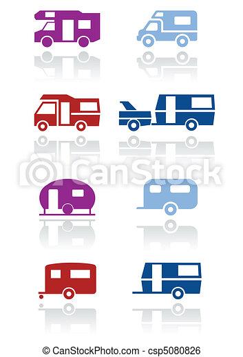 roulotte, simbolo, campeggiatore, o, set. - csp5080826