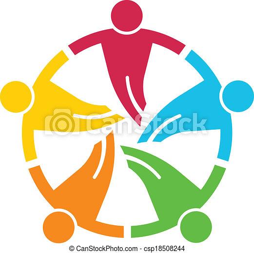 round., グループ, 人々, 5, v, チームワーク - csp18508244