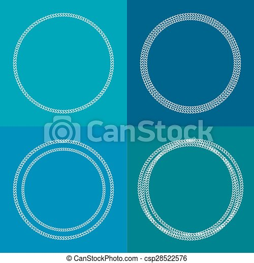 Round abstract chain frame set Outline effect Blue background Flat design - csp28522576