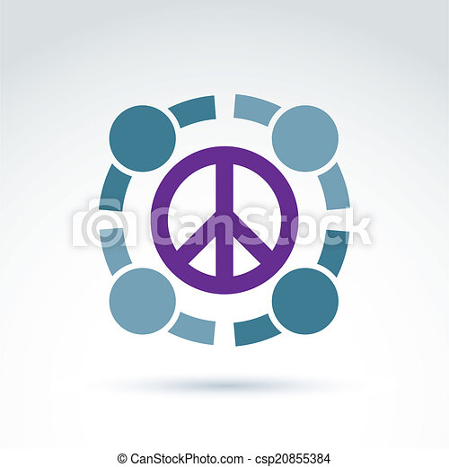 Round antiwar vector icon, no war symbol. People of the world co - csp20855384