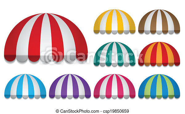 Round awnings. Set of rounded awnings.