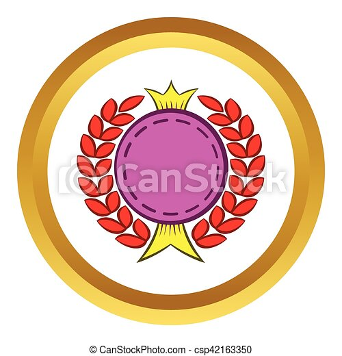 round badge with crown and laurel vector icon in golden circle