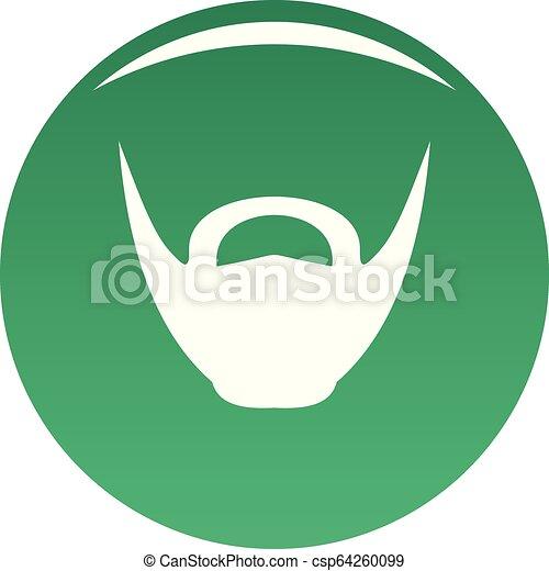 Round beard icon vector green - csp64260099