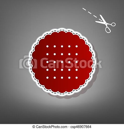 Round biscuit sign. Vector. Red icon with for applique from paper with shadow on gray background with scissors. - csp46907664