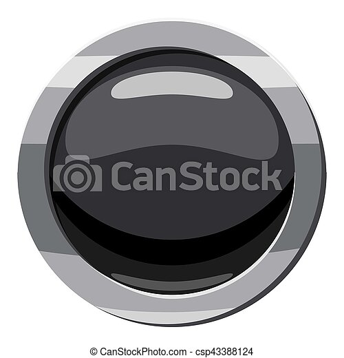 Round black button icon, cartoon style - csp43388124