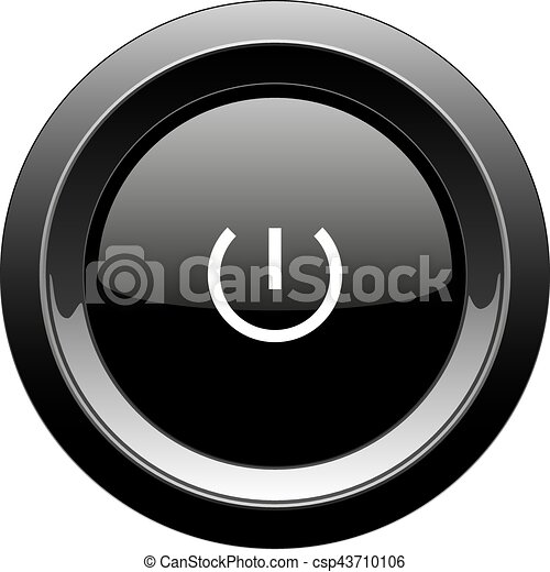 Round black button with power icon - csp43710106