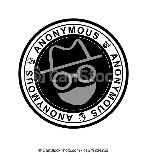 Round black rubber stamp with the word anonymous - csp79204253