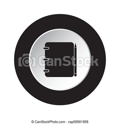 round black, white button icon-notepad with pencil - csp59561958