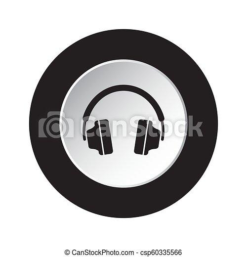 round black, white button icon with headphones - csp60335566