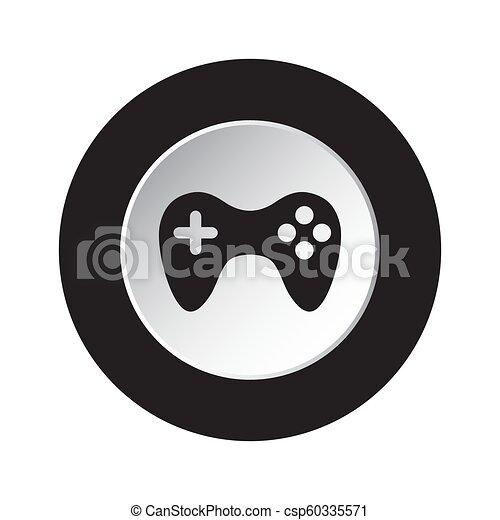 round black, white button icon with gamepad - csp60335571