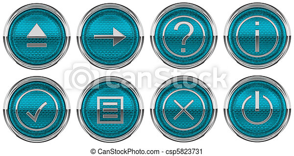 Round Blue Control icons set isolated - csp5823731