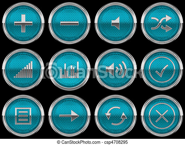 Round blue Control panel icons or buttons - csp4708295