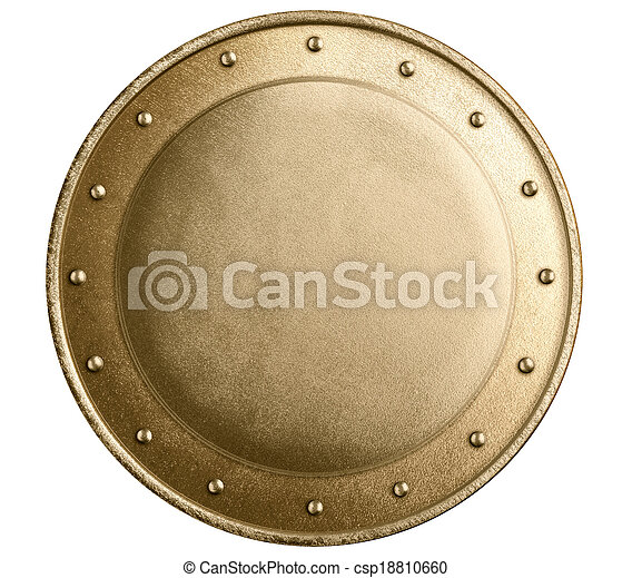 round bronze or gold metal medieval shield isolated - csp18810660