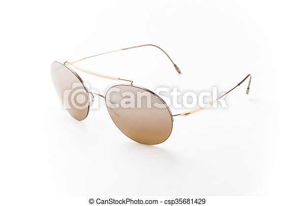 Round brown sunglasses isolated on white background - csp35681429