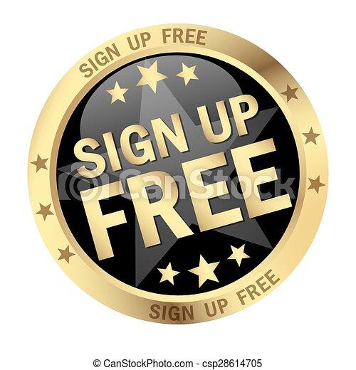 Round button Sign up free - csp28614705