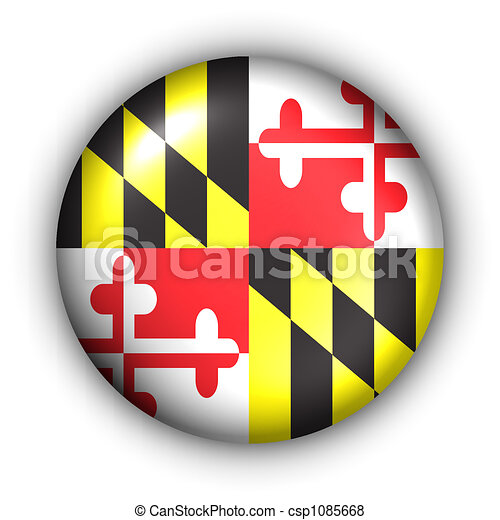 Round Button USA State Flag of Maryland - csp1085668