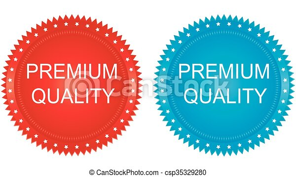 round button with banner and text Premium Quality - csp35329280