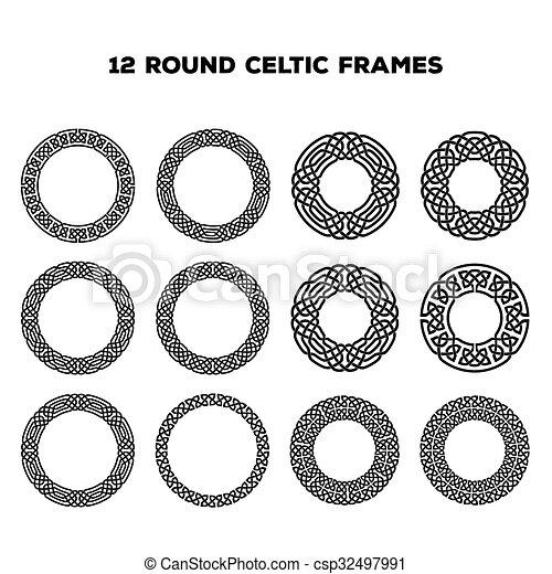 Round Celtic Frames - csp32497991