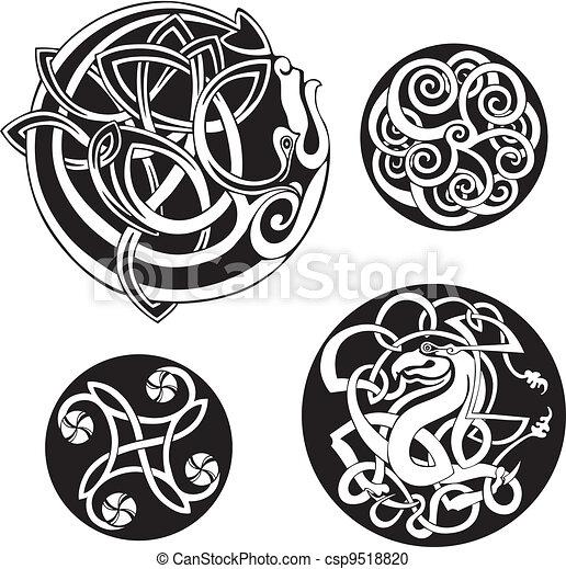 Round Celtic Knots. Vector Set - csp9518820