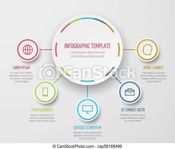 Round chart infographic with steps progress vector template for business  report and analytical presentation
