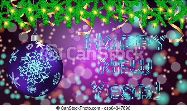 Round Christmas ball, toy, Christmas, New Year decoration with a pattern of snowflakes in spruce branches with garlands and golden ribbons on a blurred abstract background with bokeh effect, vector - csp64347896