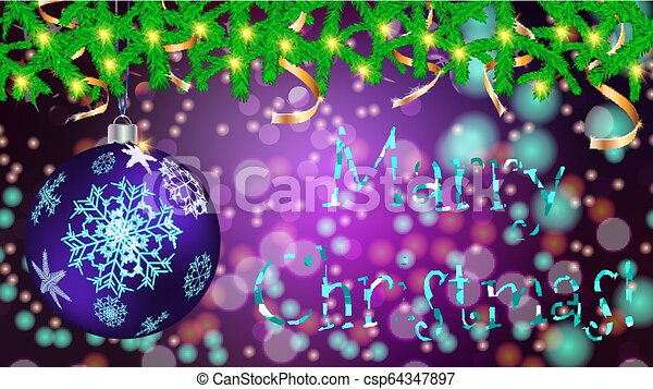 Round Christmas ball, toy, Christmas, New Year decoration with a pattern of snowflakes in spruce branches with garlands and golden ribbons on a blurred abstract background with bokeh effect, vector - csp64347897