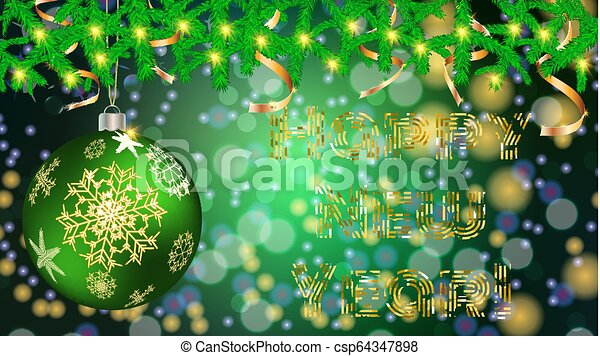 Round Christmas ball, toy, Christmas, New Year decoration with a pattern of snowflakes in spruce branches with garlands and golden ribbons on a blurred abstract background with bokeh effect, vector - csp64347898
