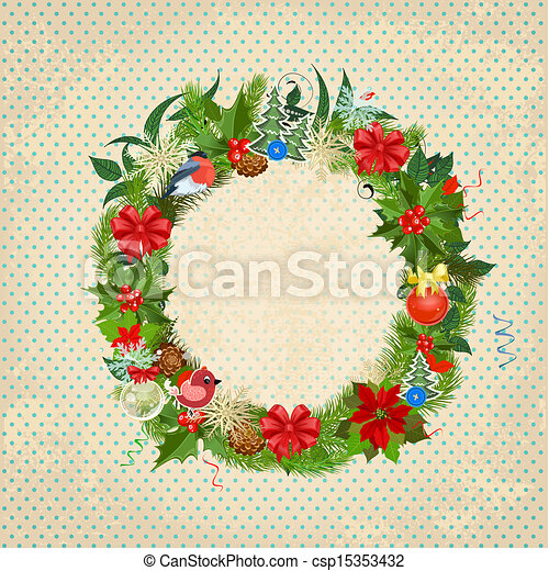 Round Christmas frame for your design - csp15353432