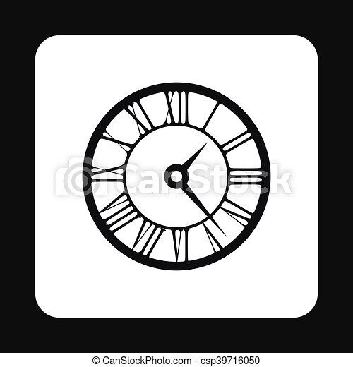 Round Clock With Roman Numerals Icon Simple Style Round Clock With