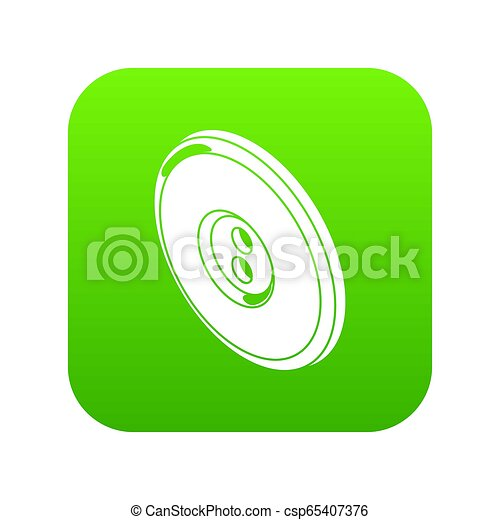 Round clothes button icon green - csp65407376