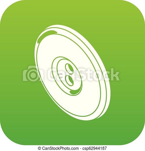 Round clothes button icon green vector - csp62944187
