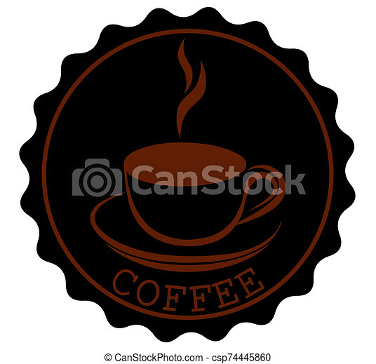 Round Coffee Ribbon Banners Shapes with a cup and steam in black brown - csp74445860