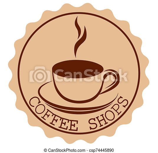 Round Coffee Shop Ribbon Banners Shapes with a cup and steam in brown and light brown - csp74445890