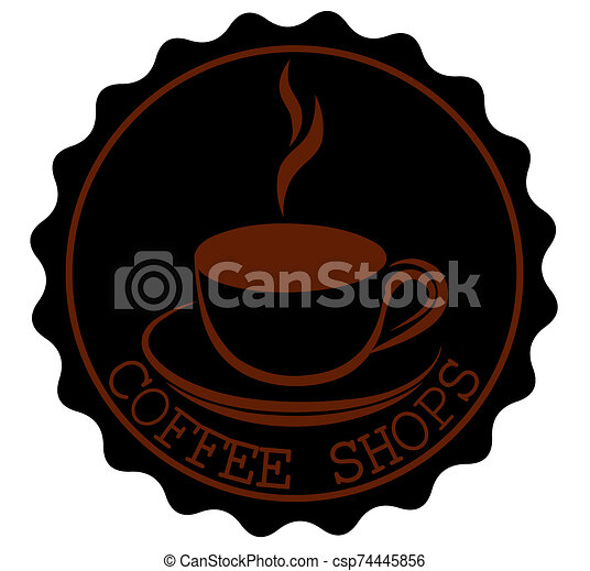 Round Coffee Shop Ribbon Banners Shapes with a cup and steam in black brown - csp74445856